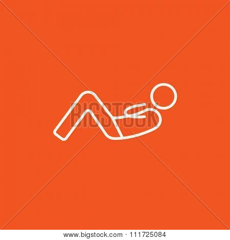 Man doing abdominal crunches line icon for web, mobile and infographics. Vector white icon isolated on red background.