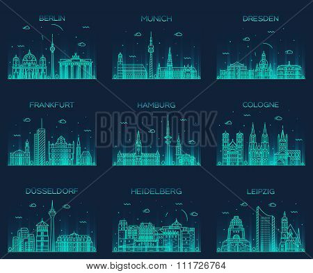German cities vector illustration linear style