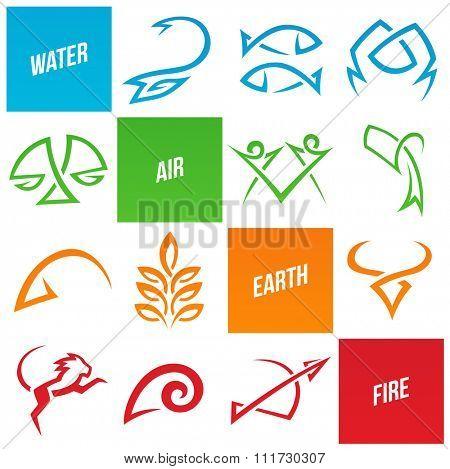 Vector Illustration of Simplistic Zodiac Star Signs