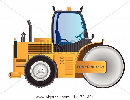 Steamroller yellow car vector design model