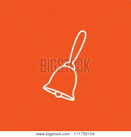 School bell line icon for web, mobile and infographics. Vector white icon isolated on red background.