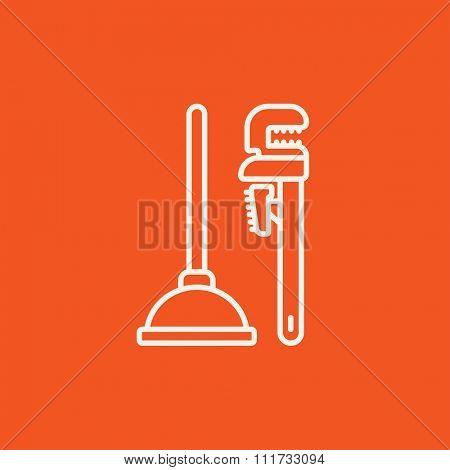 Pipe wrenches and plunger line icon for web, mobile and infographics. Vector white icon isolated on red background.