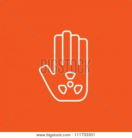 Ionizing radiation sign on a palm line icon for web, mobile and infographics. Vector white icon isolated on red background.