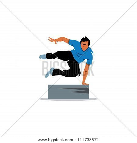 Parkour athlete jumping over a barrier. Vector Illustration.