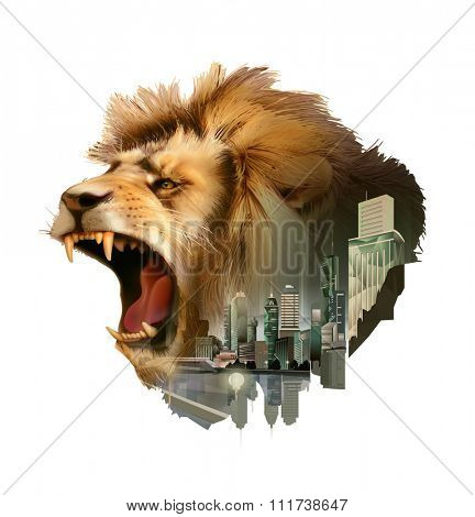 Roaring lion head, double exposure vector illustration