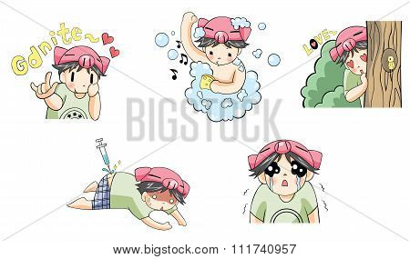 Piggy pig boy with tiger pet cartoon character icon in various action and expression such as bath cl