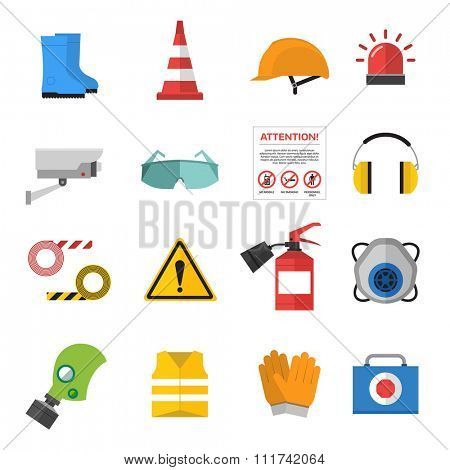 Safety work icons flat style. Safety icons vector illustration. Safeti icons isolated on white background. Safety work icons. Safety symbols elements collection. Safety at work