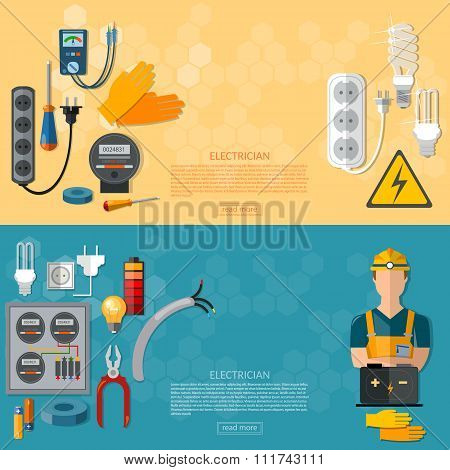 Professional Electrician With Electricity Tools Flat Horizontal Banner