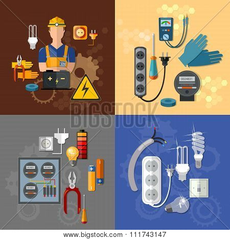 Professional Electrical Electricity Energy Electric Man In Yellow Hard Hat Electrical Household Supp