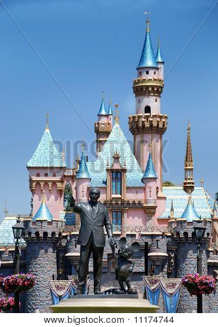 Monument To Walt Disney And Mickey Mouse In Disneyland California
