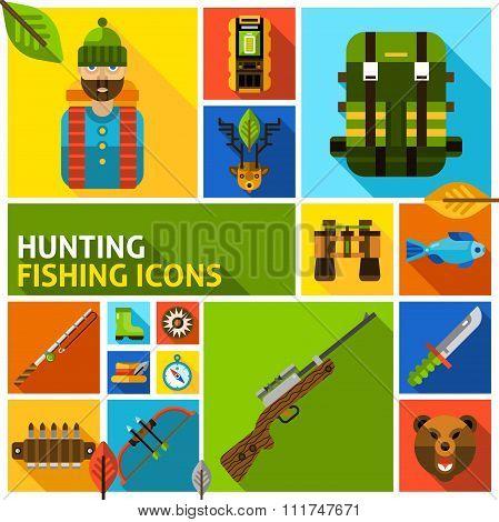 Hunting and fishing icons set