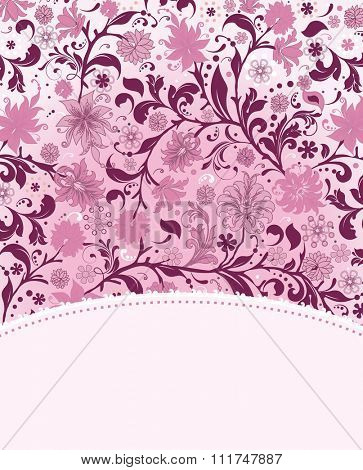 Vintage invitation card with ornate elegant retro abstract floral design, fuschia and pink flowers and leaves on white background with text label. Vector illustration.
