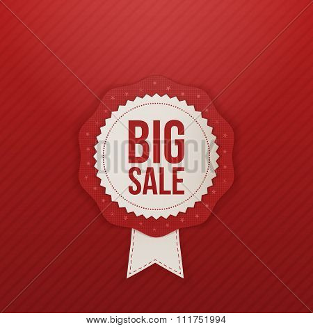 Realistic big Sale red Label and white Ribbon