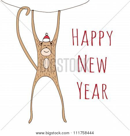 Monkey Christmas Card