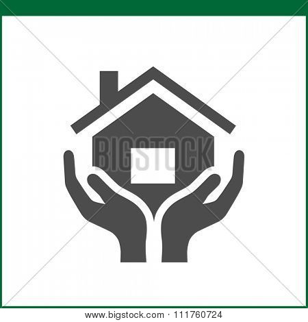 Property insurance icon. Home protections and insurance risks. Vector icon