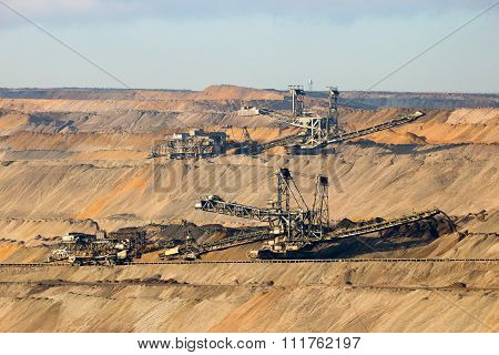 Machines in a Brown coal open pit mine poster