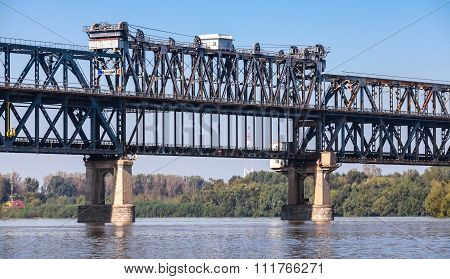 Danube Bridge known as the Friendship Bridge. Steel truss bridge over the Danube River connecting Bulgarian and Romanian banks between Ruse and Giurgiu cities poster