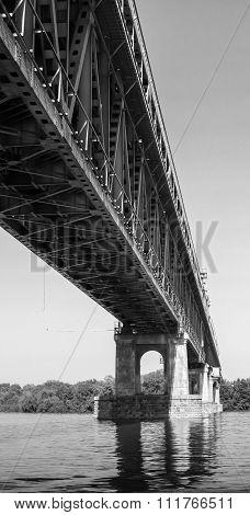 Steel truss bridge over Danube river between Bulgaria and Romania black and white photo poster