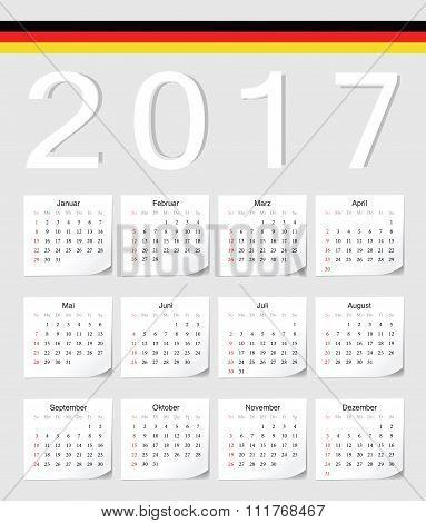 German 2017 Calendar
