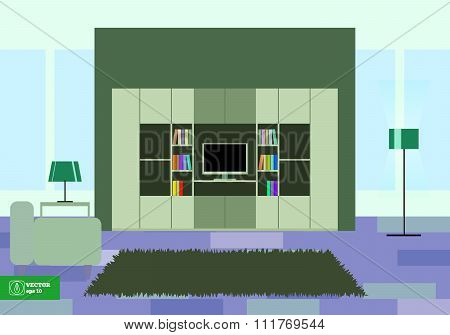 Abstract Flat Interior Desing. Vector