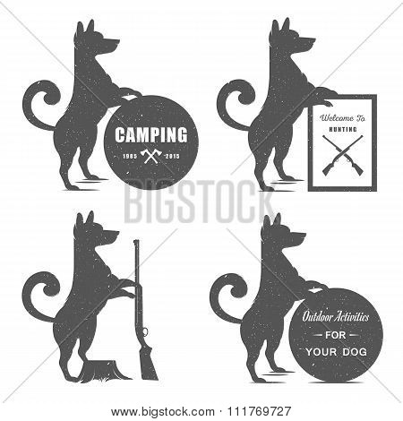 Vector Set Sign Dog