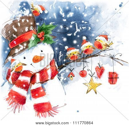 Watercolor snowman and cute bird. Snowman, snow, snowflake, bird watercolor. Winter Holiday design.