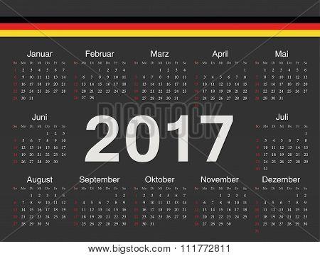 Vector Black German Circle Calendar 2017