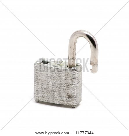 Isolated Silver Lock Opened