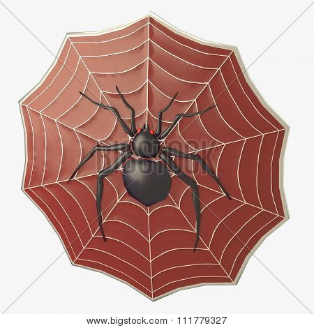 Spider Decorated Shield In Red