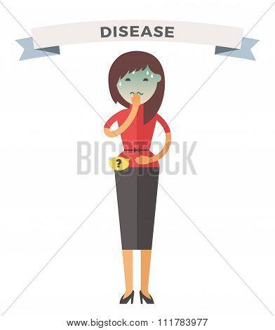 Illness girl vector illustration