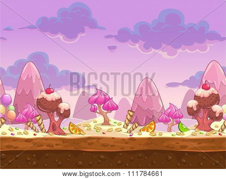 Cartoon sweet candy land seamless illustration
