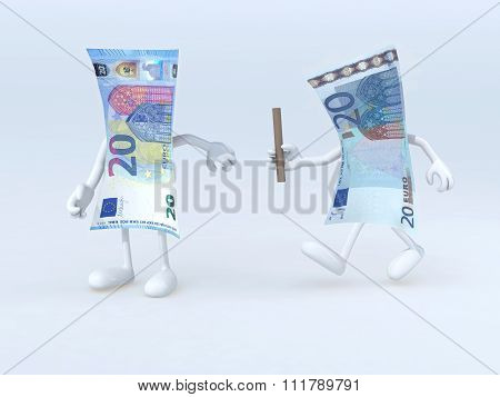 Relay Between Old And New 20 Euro Notes