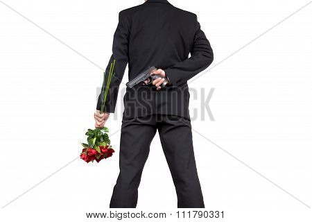 Asian Businessman Standing With Holding A Bouquet Of Rose Flowers And Hiding Gun Behind His Back , I