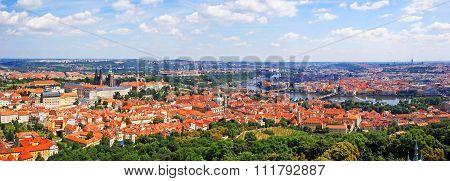 Aerial panoramic view of Prague