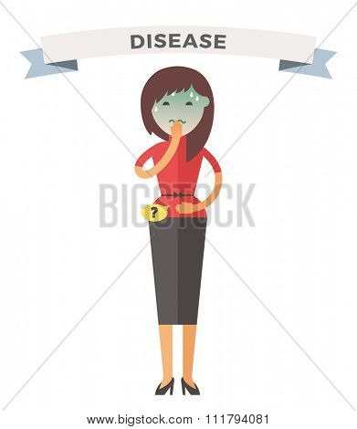 Illness girl vector illustration. Woman illness, people sick. Girl cold illustration. People unwell need medical help. Virus, health, fever girl silhouette. People unwell
