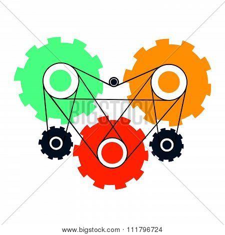 Heart cog wheels enging working concept vector design