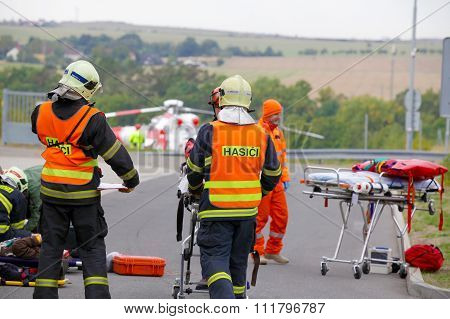 CZECH REPUBLIC, PLZEN, 30 SEPTEMBER,2015:Czech rescue helicopter evacuate injured after a car accide