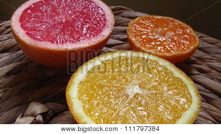Orange, mandarin and pink grapefruit.