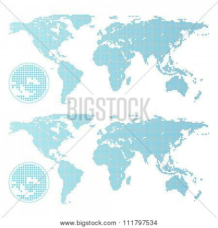 Dotted world map isolated on white