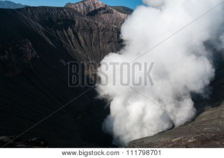 Volcano Bromo Errupting Smoke