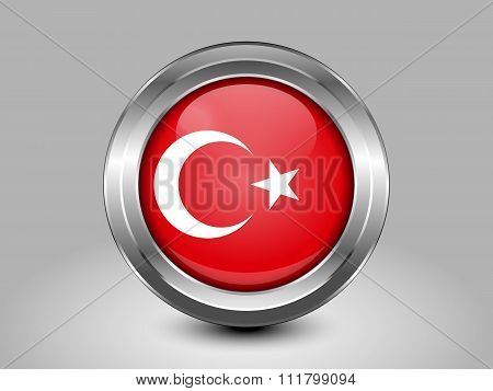 Turkey Variant Flag. Metal Round Icons. This is File from the Collection Asian Flags poster