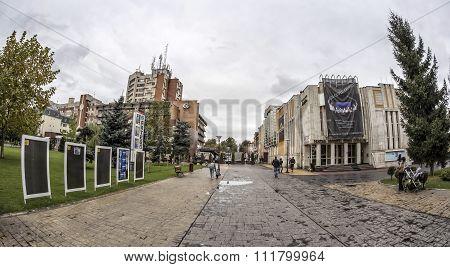 TARGU-JIU, ROMANIA-OCTOBER 08: Buildings in the downtown area  on October 08, 2014 in Targu-Jiu.