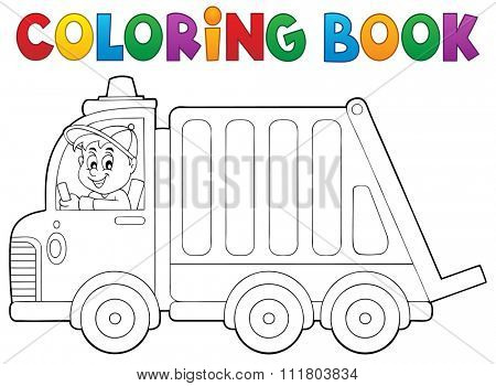 Coloring book garbage collection truck - eps10 vector illustration.