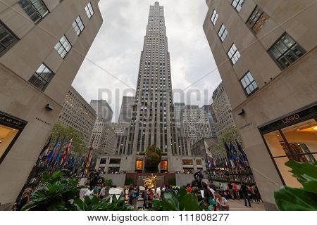 NEW YORK - August 23, 2014: People in the square at Rockefeller center