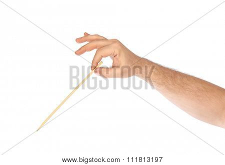 Music conductor hand isolated on white background