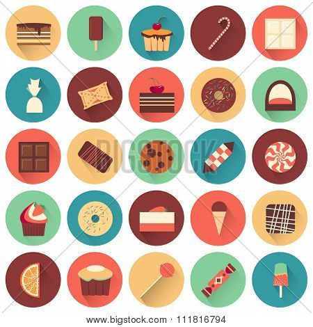 Dessert icon set. Collection of tasty sweets