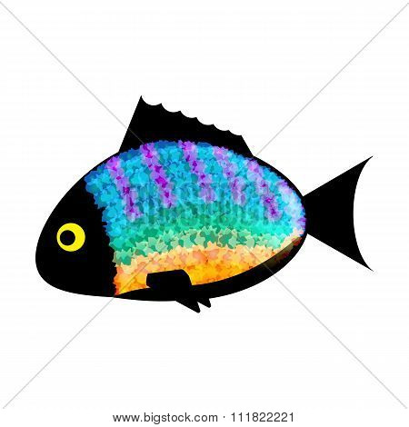 Fish colored silhouette on white background.