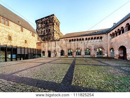 The Porta Nigra (Black Gate) in Trier city Germany. UNESCO World Heritage Site