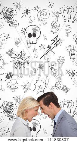 Colleagues quarreling head against head against swearing doodles