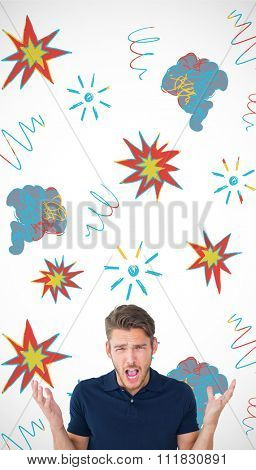 Handsome young man shrugging shoulders against swearing doodles
